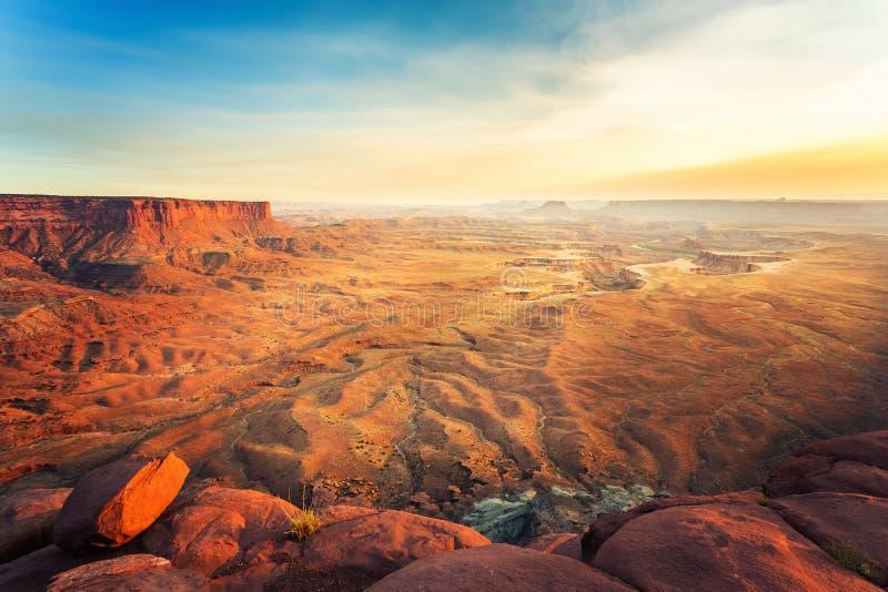 Landschap van het Dode Park van de Staat van het Paardpunt bij zonsondergang stock afbeeldingen