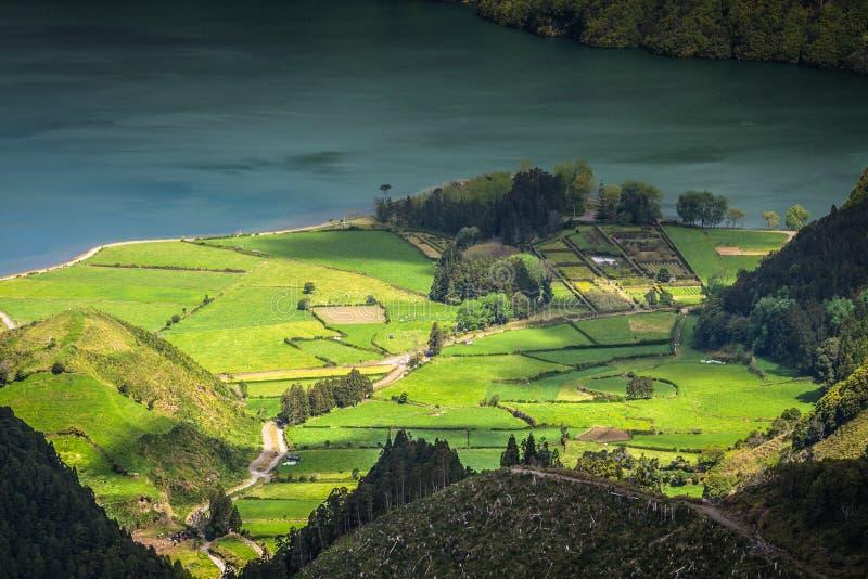 Landschap van het Eiland Flores De Azoren, Portugal royalty-vrije stock afbeelding