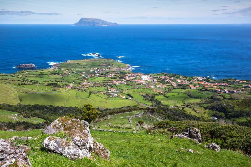 Landschap van het Eiland Flores De Azoren, Portugal stock afbeeldingen