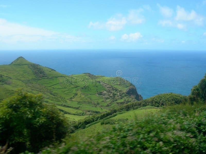 Landschap van het Eiland Flores De Azoren, Portugal stock afbeelding