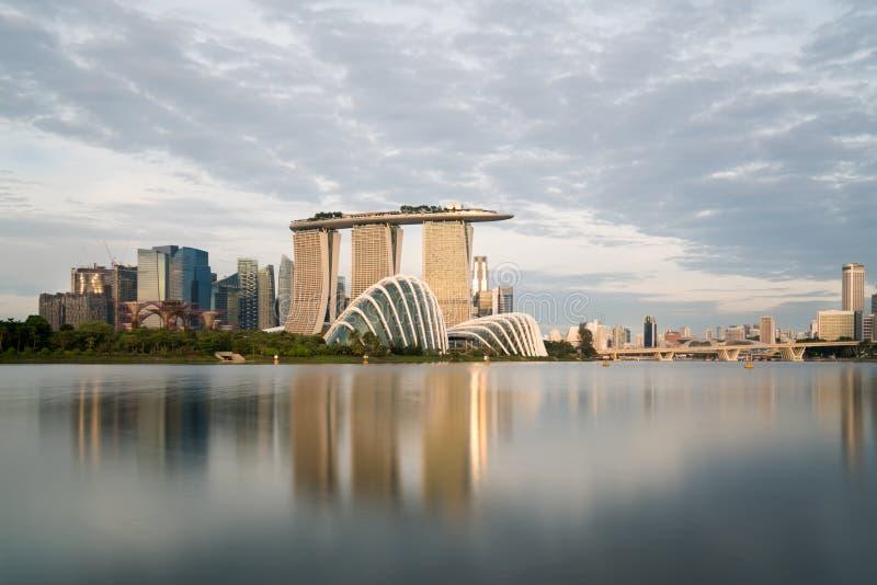 Landschap van het financiële district van Singapore in Jachthavenbaai, Zonde royalty-vrije stock foto's