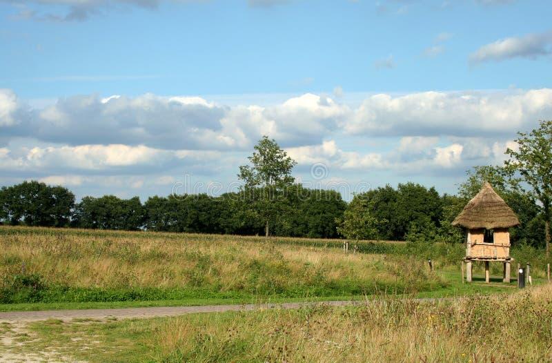 Landschap van het Openluchtmuseum in Drenthe, Nederland stock foto