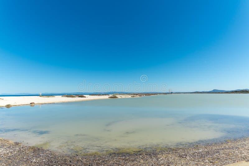 Landschap van het strand van Le Saline stock foto