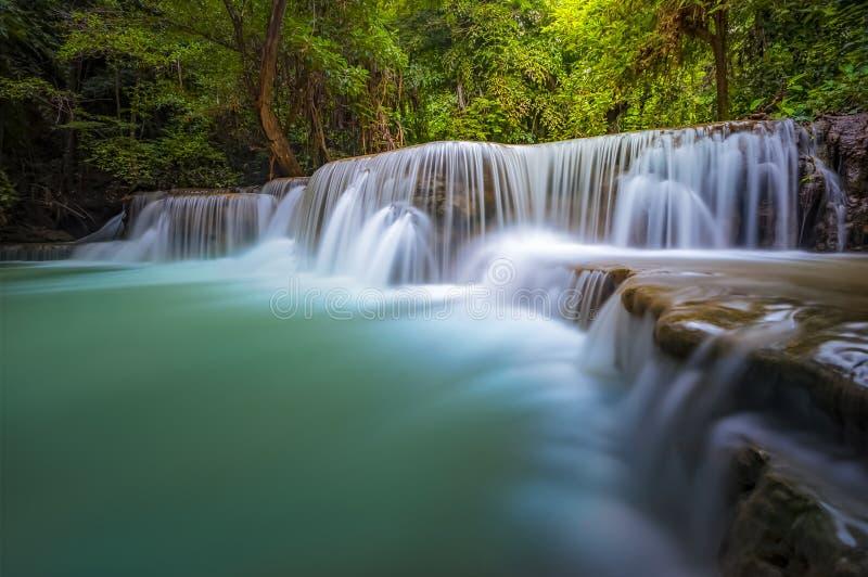 Landschap van Huai Mae Kamin-waterval stock afbeelding