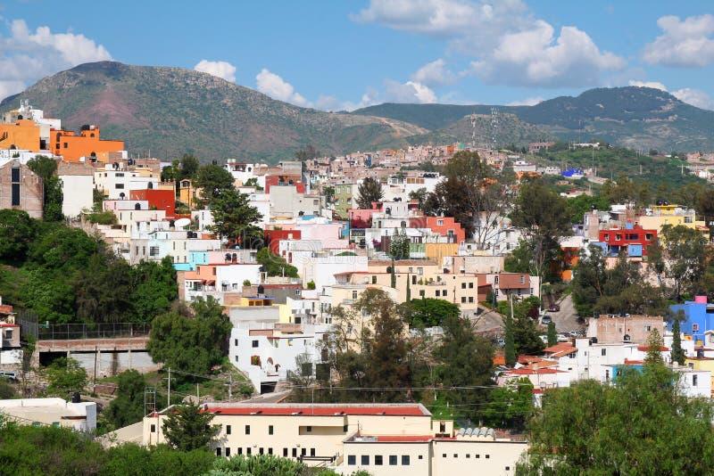 Landschap van kleurrijke stad Guanajuato in Mexico royalty-vrije stock foto