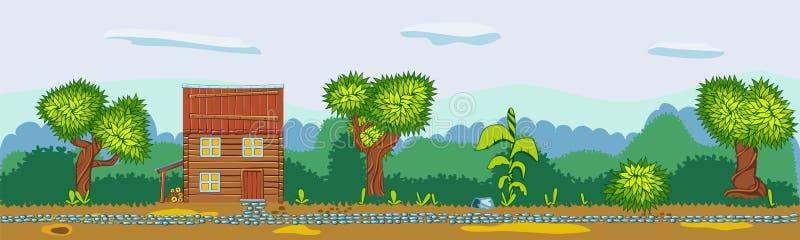Landschap van landweggen, huizen en bomen vector illustratie
