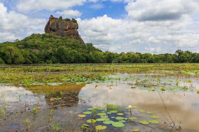 Landschap van leeuwrots en meer in Sigiriya, Sri Lanka stock foto
