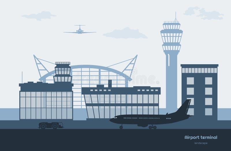 Landschap van luchthaven Vervoers eindsilhouet Vliegtuig op vliegveldachtergrond Luchtvaartscène vector illustratie