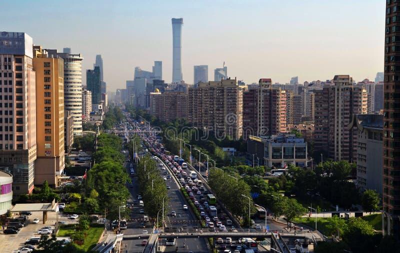 Landschap van moderne stad, Peking, China stock foto's