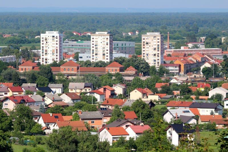 Landschap van oude Europese stad met huizen industriële die gebouwen en flatjegebouwen met dicht bos worden omringd stock foto's