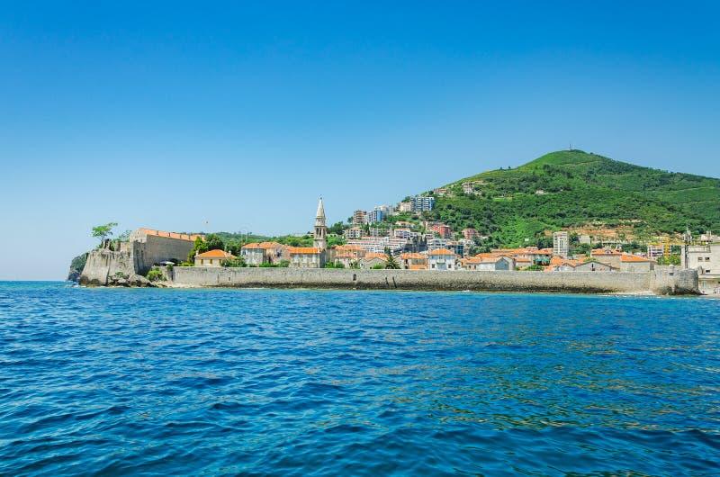 Landschap van Oude Stad Budva Montenegro royalty-vrije stock afbeelding