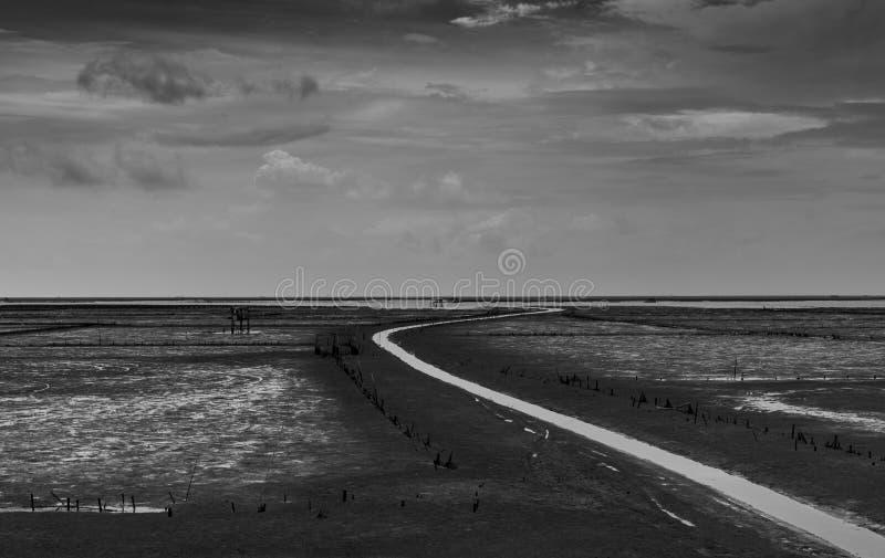 Landschap van overzees bij getijde en grijze hemel en witte wolken langs het windende waterkanaal Modder vlak bij kust Zwart-wit  stock foto's