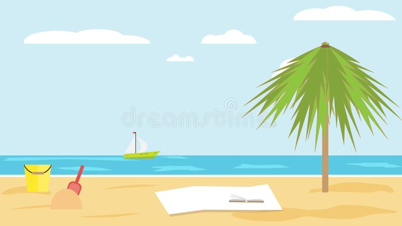 Landschap van overzees van zandig tropisch strand met palm op duidelijke de zomerdag kinderen` s emmer en schop in het zand royalty-vrije illustratie