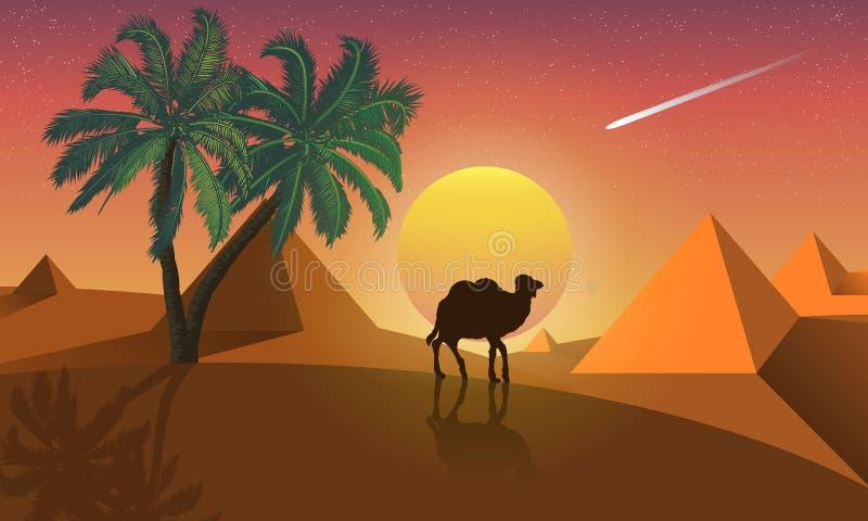 Landschap van palm en kameel op een achtergrond van woestijnpiramides vector illustratie