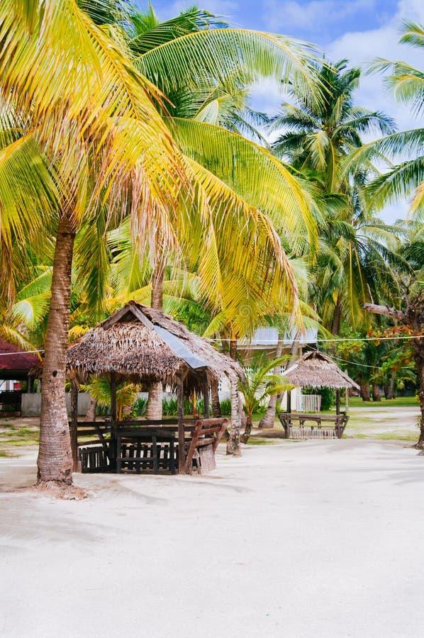 Landschap van paradijs tropisch eiland met palmen, plattelandshuisjes en wit zandstrand royalty-vrije stock foto