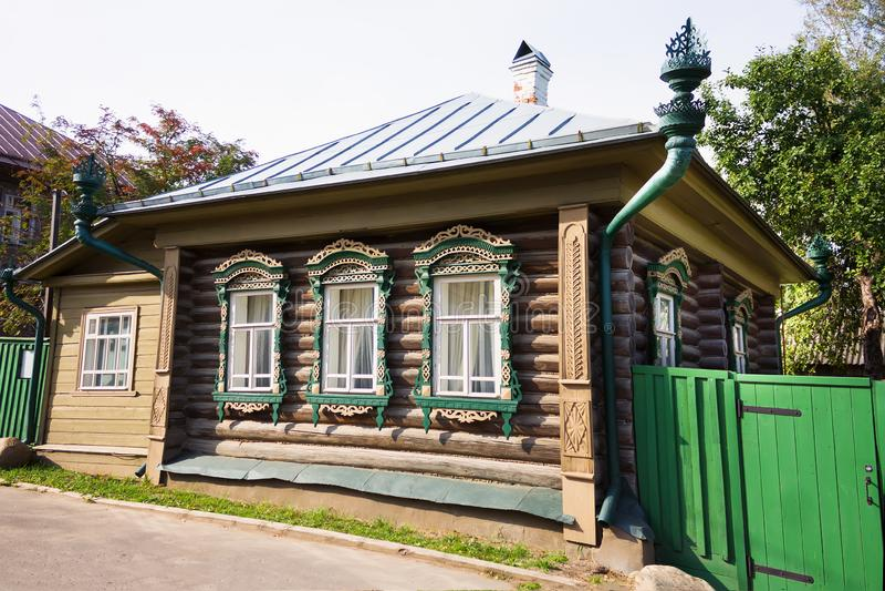 Landschap van Plyos-stad in het Gebied van Ivanovo in Rusland royalty-vrije stock fotografie