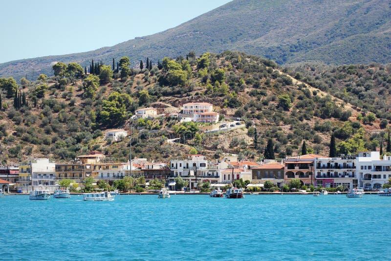 Landschap van Poros-de Golf Griekenland van eilandsaronic stock fotografie