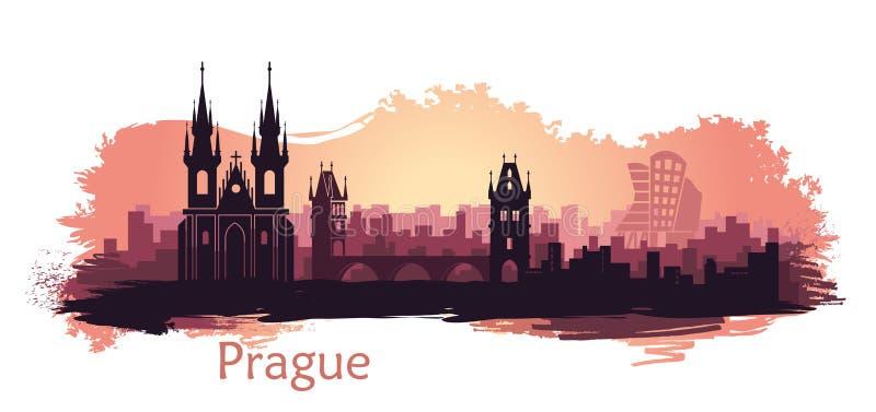 Landschap van Praag met gezichten Abstracte horizon bij zonsondergang met vlekken en plonsen van verf royalty-vrije illustratie