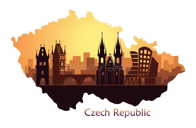 Landschap van Praag met gezichten Abstracte horizon in de vorm van een kaart van de Tsjechische Republiek vector illustratie