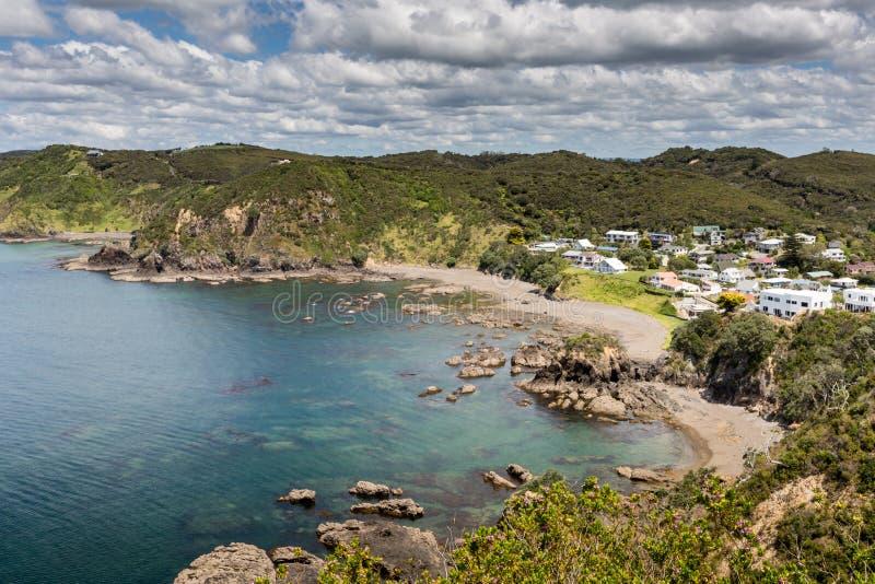Landschap van Russell dichtbij Paihia, Baai van Eilanden, Nieuw Zeeland stock afbeelding