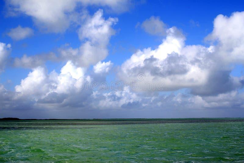 landschap van smaragdgroene oceaan met blauwe hemel in Islamorada in de Sleutels van Florida royalty-vrije stock foto's