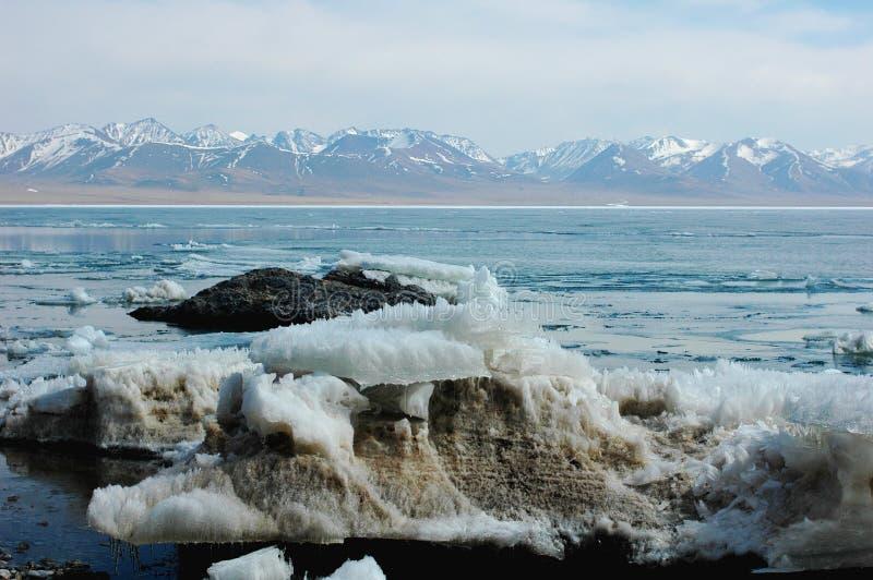 Landschap van van de ijsmeer en sneeuw bergen royalty-vrije stock foto