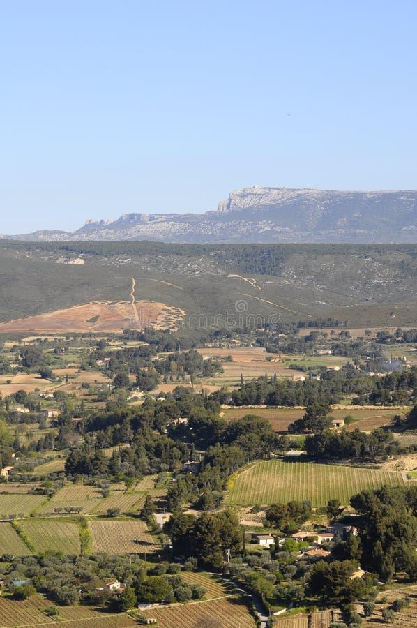 Landschap van wijngaarden in de Provence, Zuid-Frankrijk stock fotografie