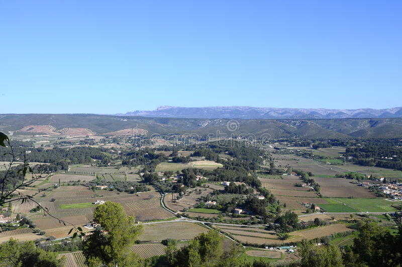 Landschap van wijngaarden in de Provence, Zuid-Frankrijk stock afbeelding