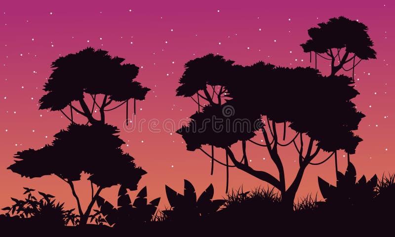 Landschap van wildernis met groot boomsilhouet vector illustratie