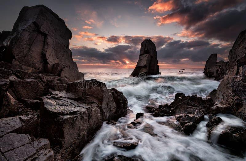Landschap van winderige zonsopgang stock foto