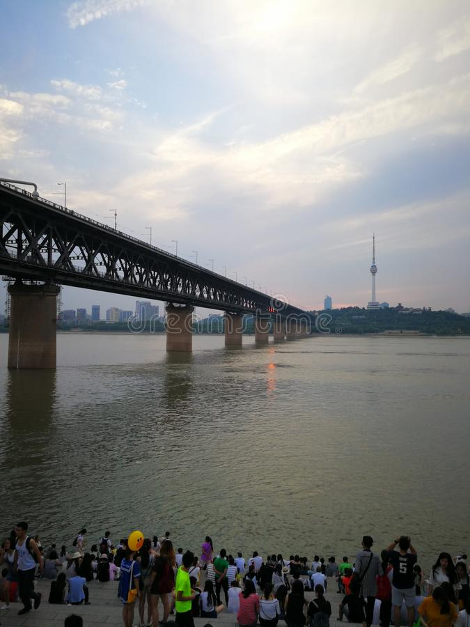 Landschap van Yangtze-rivier stock afbeeldingen