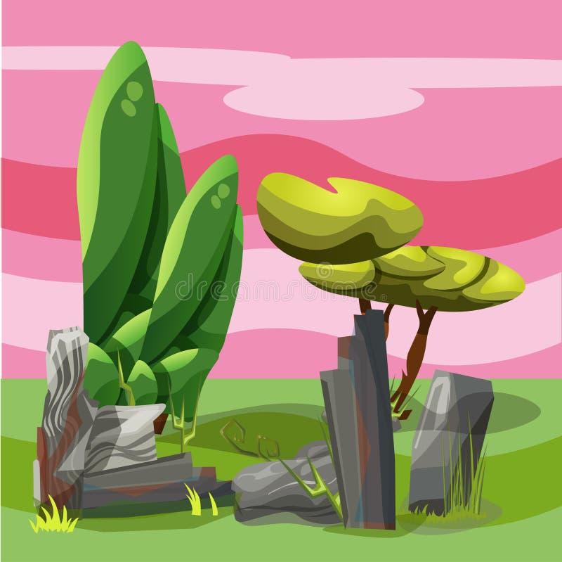 Landschap voor het spelen met bomen en stenen stock afbeelding