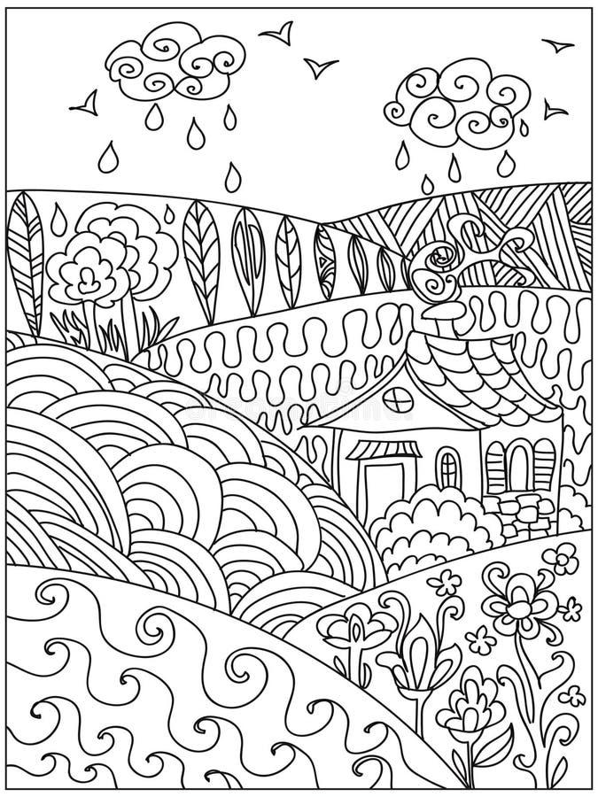 Landschap zentangle royalty-vrije illustratie