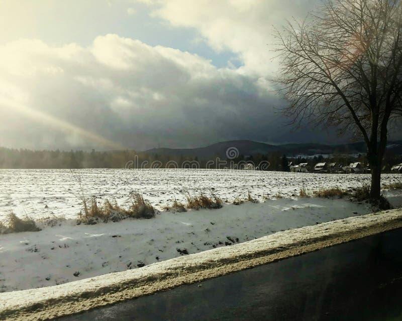 Landschap, zon, sneeuw stock foto