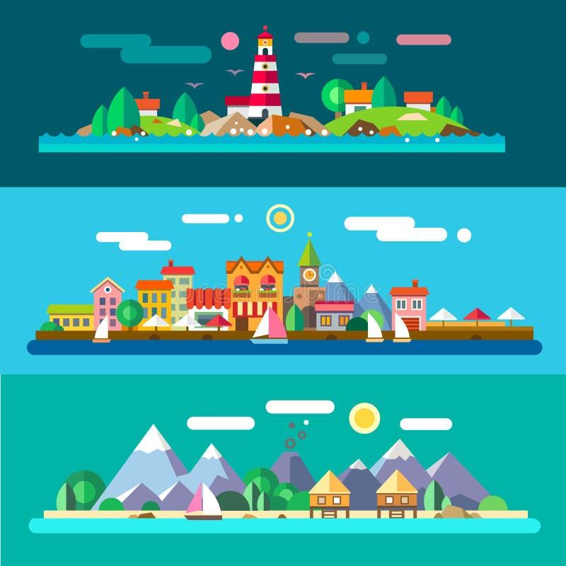 Landschappen door het overzees royalty-vrije illustratie