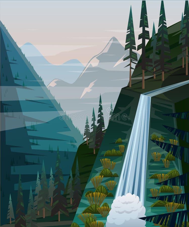 Landschappen met bergen, waterval en sparren vector illustratie