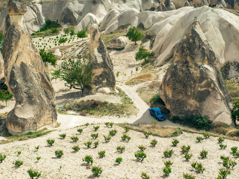 Landschappen van Cappadocia, Centraal Turkije stock afbeelding
