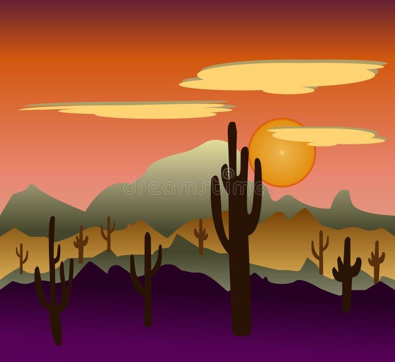 Landschappen van de woestijn de wilde aard met cactus royalty-vrije illustratie