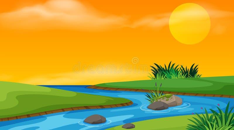 Landschaps achtergrondontwerp van stroom bij zonsondergang vector illustratie