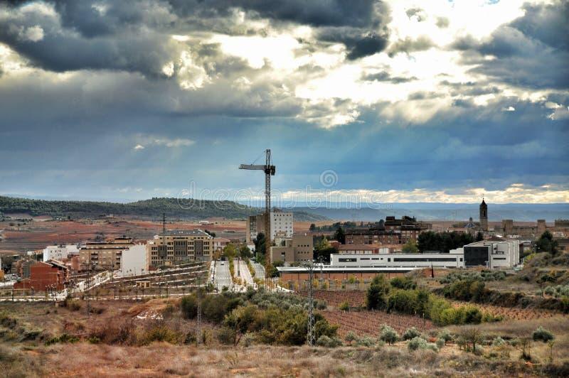 Landschaps kleine stad, Spanje stock afbeelding