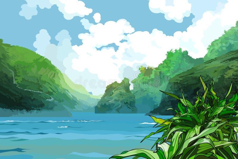 Landschaps mooie baai onder groene bergen stock illustratie