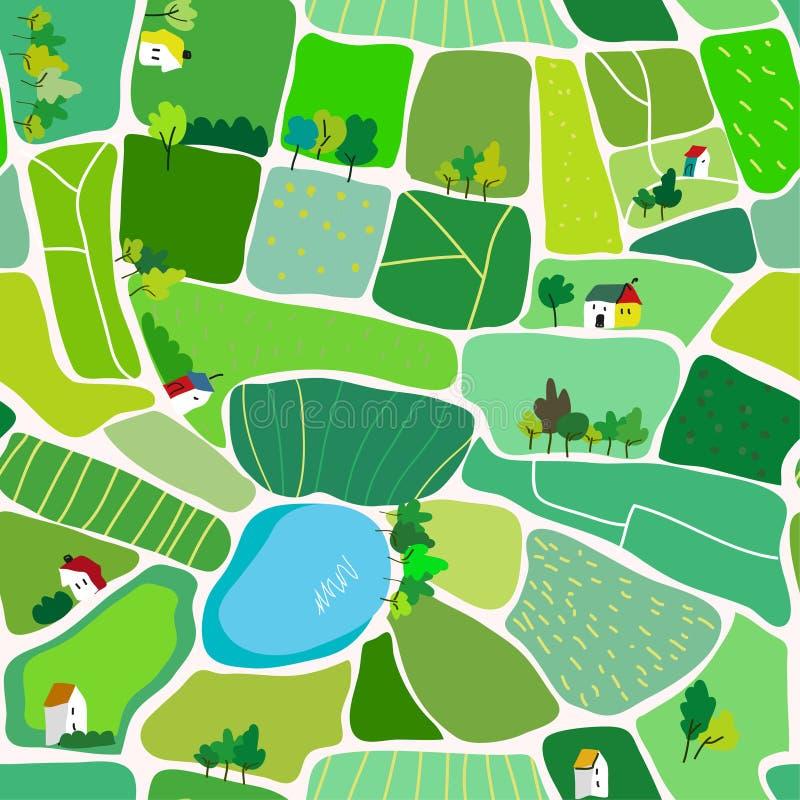 Landschaps naadloos patroon voor het platteland, met huizen en wegen, hoogste mening Vector illustratie royalty-vrije illustratie