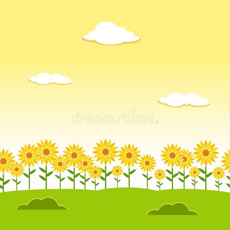 Landschaps Naadloze Achtergrond De naadloze achtergrond van de tuin De achtergrond van de zonnebloemtuin De achtergrond van het b royalty-vrije illustratie