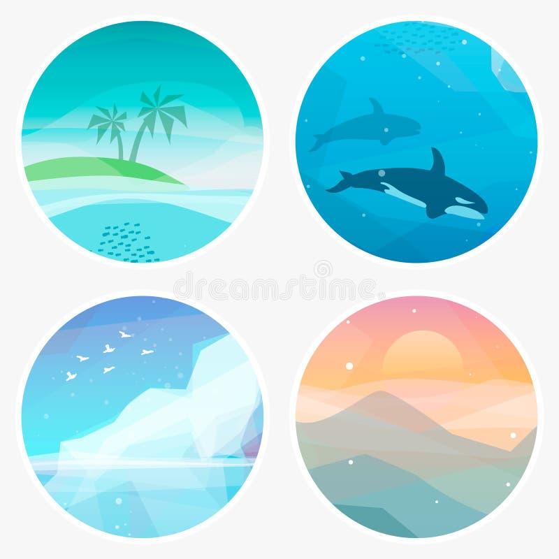 4 landschaps vectorillustraties in lage poly geometrische stijl vector illustratie