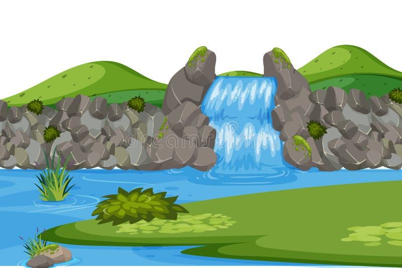 Landschapsachtergrond met waterval en groen gebied vector illustratie