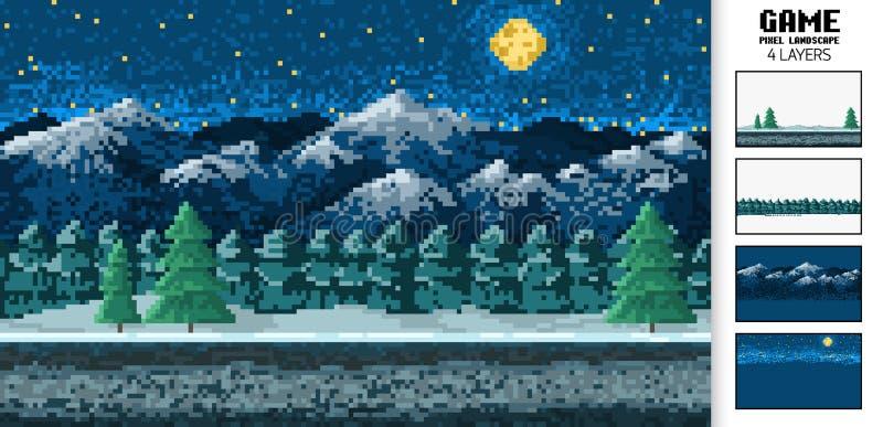 Landschapsachtergrond, pixelkunst, digitale uitstekende spelstijl met 8 bits interface voor de toepassing of een website Nacht bi vector illustratie