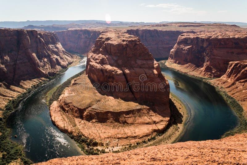 Landschapsbeeld van hoefijzerkromming in Pagina, Arizona stock foto