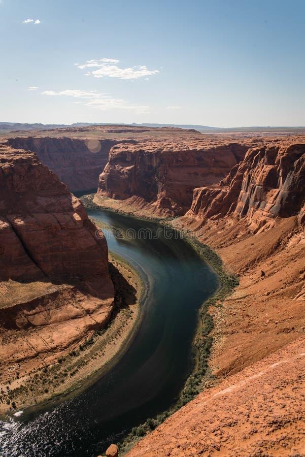 Landschapsbeeld van hoefijzerkromming in Pagina, Arizona stock fotografie