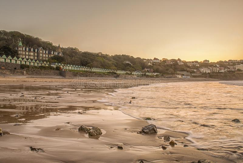 Landschapsbeeld van Langland-baai in Swansea royalty-vrije stock afbeelding