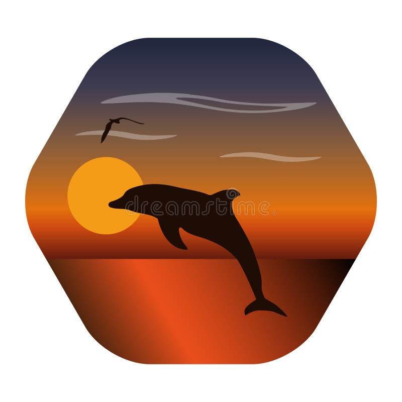 Landschapsbeeld van zonsondergang met het springen dolfijn en zeemeeuw royalty-vrije illustratie